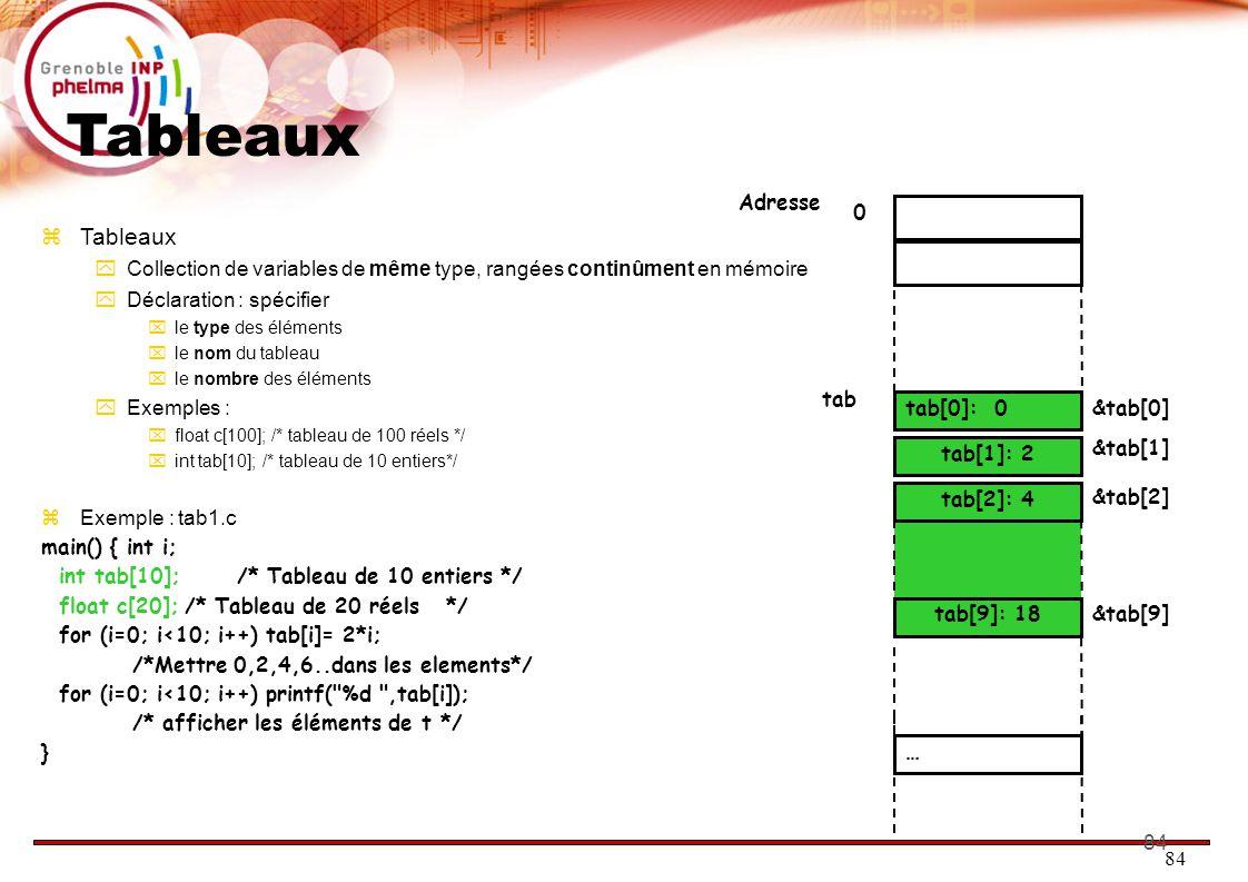 85 Tableaux 18 4 0 2 0 tab&tab[0] Adresse &tab[1] tab[2] &tab[-2] … &tab[9] &tab[900] tab+1 tab+2 tab+9  Remarques  Nombre d'éléments constant, non modifiable  Le nom du tableau est son adresse (ie l'endroit où il se trouve en mémoire  Accès à un élément du tableau :  nom_du_tableau[expression entiere]  Exemple : tab[i]  Comment fait le compilateur : on part du début du tableau, on ajoute i : c'est l'endroit où se trouve notre élément  Attention : Pas de vérification sur les indices.