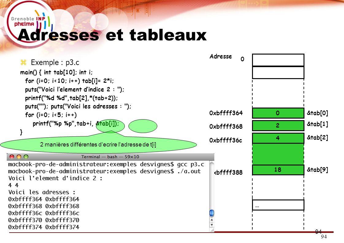95 Parcourir un tableau avec un pointeur  Exemple : p4.c main() {int* p=NULL; int i; int tab[5]; for (i=0; i<5; i++) tab[i]=2*i+1; p=tab; while (p<tab+5) { printf( Pointeur: %p ,,p); printf( Valeur %d ,*p); *p=234; printf( Valeur modifiee %d\n ,*p); p++; } 9 5 0 3 1 0xbffff384&tab[0] Adresse &tab[1] &tab[2] … &tab[4] 0xbffff388 0xbffff38c 0xbffff394 7 &tab[3] 0xbffff390 i= 5 &i 0xbffff398 p= 0 &p 0xbffff39c 0xbffff384 tab[0]=234 0xbffff388 tab[1]=234 0xbffff38c tab[2]=234 0xbffff390 tab[3]=234 tab[4]=234 0xbffff394