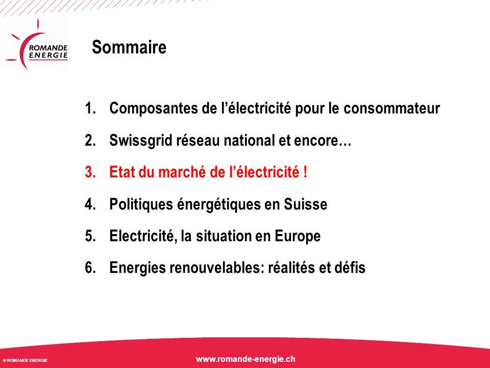 © ROMANDE ENERGIE www.romande-energie.ch Evolution des prix annuels Forward EEX depuis le 01.01.2008 (situation au 31.08.2014) EEX: Europe Energy Exchange