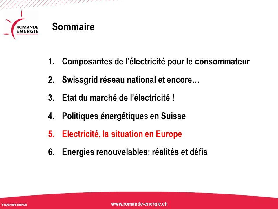 © ROMANDE ENERGIE www.romande-energie.ch UE: point de situation marché La baisse des prix sur le marché de l'électricité se poursuit .