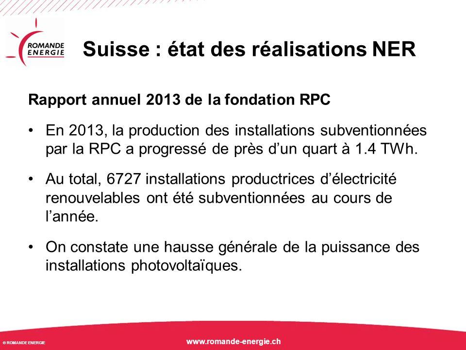 © ROMANDE ENERGIE www.romande-energie.ch Suisse : installations NER en service