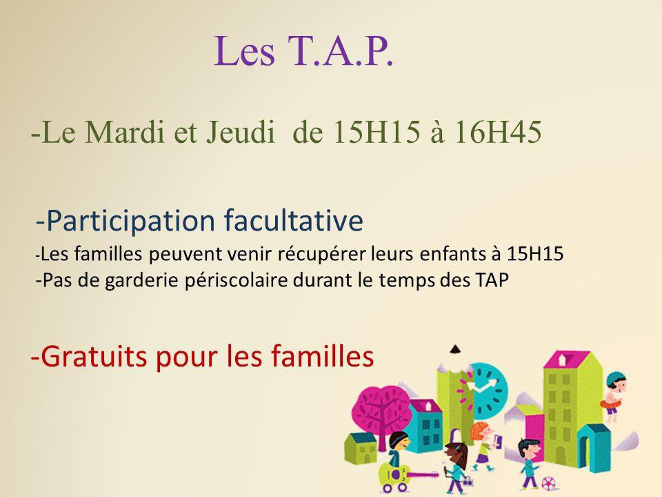 Les T.A.P./ Encadrements et groupes Norme d'encadrement pour les T.A.P.