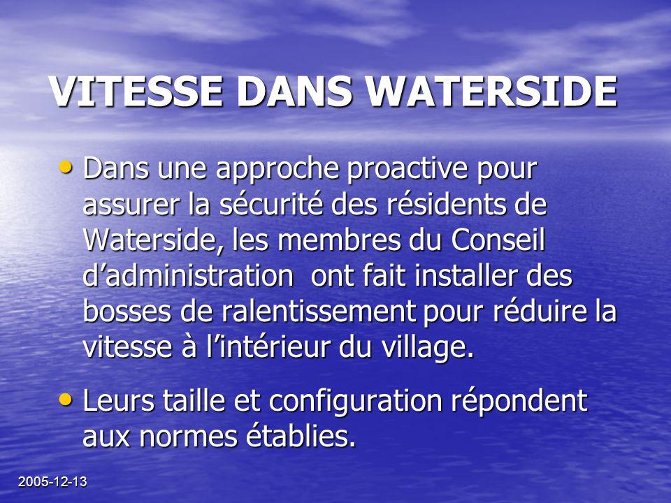 2005-12-13 VITESSE DANS WATERSIDE Des incidents sérieux se sont produits, où des piétons et des cyclistes ont failli être heurtés par des automobilistes en excès de vitesse.