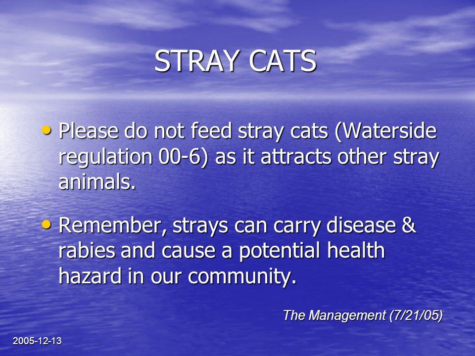 2005-12-13 CHATS ERRANTS Prière de ne pas nourrir les chats errants car ils attirent d'autres animaux sauvages (règlement 00-6 de Waterside).