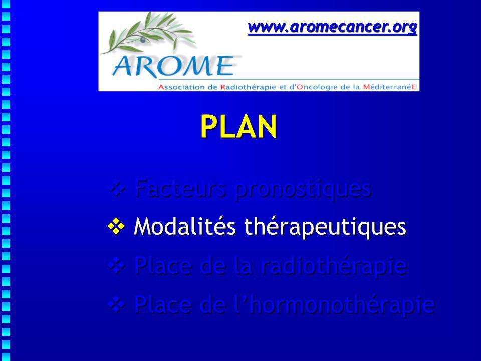 Modalités thérapeutiques   Mastectomie totale   Chirurgie conservatrice exclusive   Chirurgie conservatrice + RT   CS +/- RT + Tamoxifène