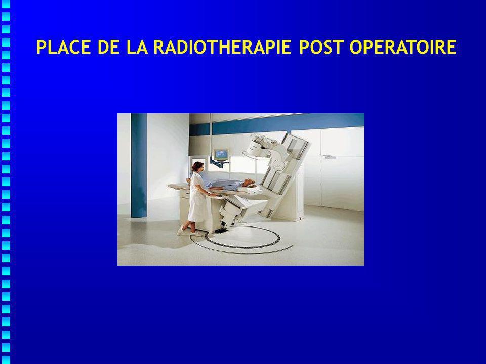  Résultats hétérogènes  2.7 à 16.6 % (  50 % invasives)  Taux global de récidive locale à 10 ans :   8 - 15 %  50 Gy)  Variations selon :  Age  Modalités de la RT  Type de chirurgie (T, Q) et qualité des berges  Durée de suivi La radiothérapie  de 50 % les récidives locales après exérèse chirurgicale complète PLACE DE LA RADIOTHERAPIE