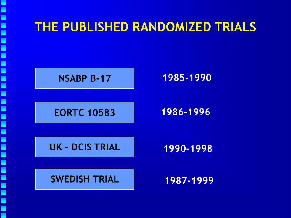 DCIS : RESULTS OF RANDOMIZED TRIALS NSABP B-17 TRIAL (1985-1990) ELIGIBLE PATIENTS WITH DCIS STRATIFICATION Age (  50 ;  50) LUMPECTOMY LUMPECTOMY + RT (50Gy/25 f.) 818 patients included in 50 centers B.
