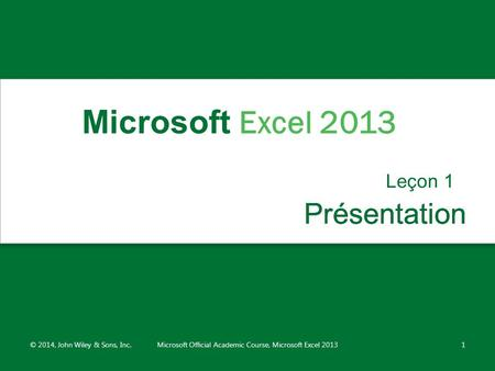 Microsoft Official Academic Course, Microsoft Excel 2013