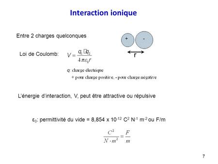 Ε 0 : permittivité du vide = 8,854 x 10 -12 C 2 N -1 m -2 ou F/m Interaction ionique + - r Loi de Coulomb: Entre 2 charges quelconques L'énergie d'interaction,