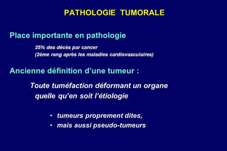 Place importante en pathologie