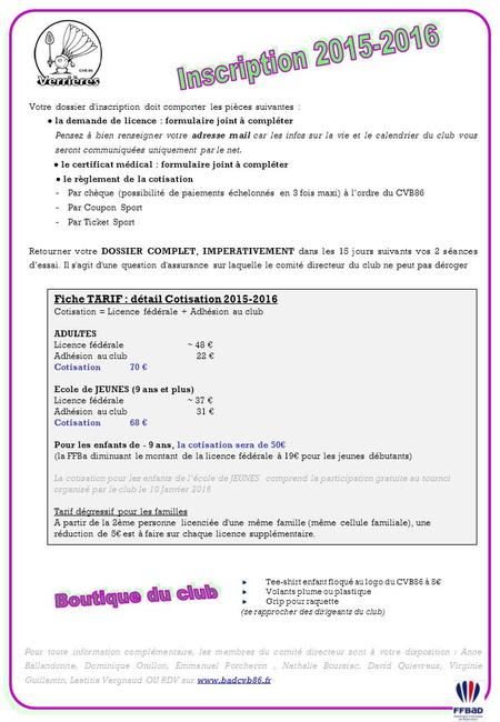Inscription Boutique du club