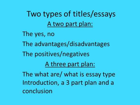 Two part essay titles