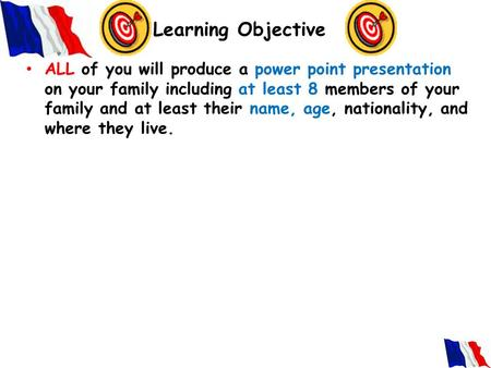 Learning Objective ALL of you will produce a power point presentation on your family including at least 8 members of your family and at least their name,