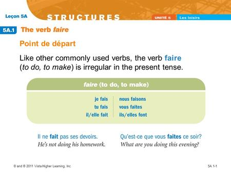 © and ® 2011 Vista Higher Learning, Inc.5A.1-1 Point de départ Like other commonly used verbs, the verb faire (to do, to make) is irregular in the present.