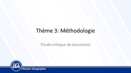 Etude critique de document