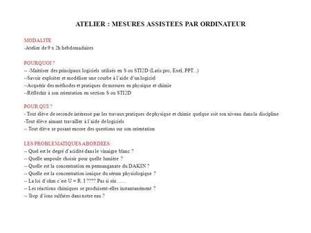 ATELIER : MESURES ASSISTEES PAR ORDINATEUR