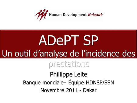 ADePT SP Un outil d'analyse de l'incidence des prestations