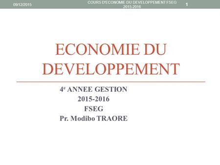 ECONOMIE DU DEVELOPPEMENT