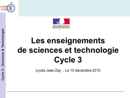 de sciences et technologie Cycle 3