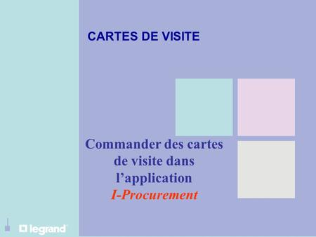 Commander des cartes de visite dans l'application I-Procurement CARTES DE VISITE.