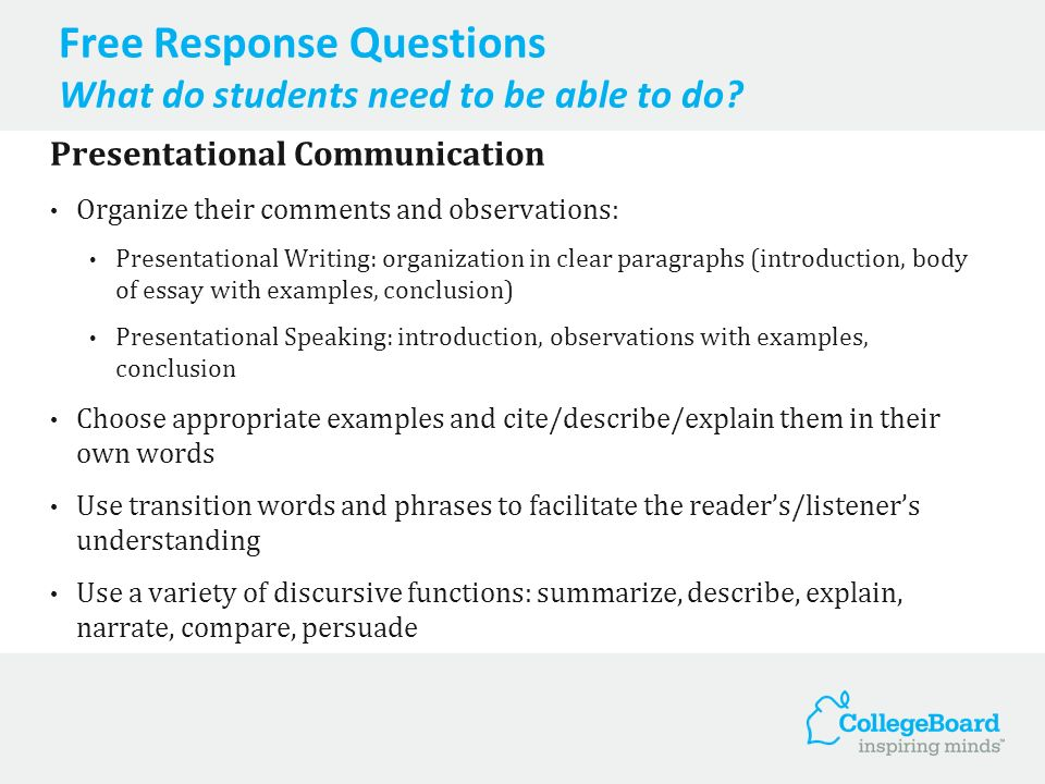 Free Response Question Presentational Speaking Presentational Speaking Students plan and give a two-minute oral presentation on a specific topic related to one of the six course themes.