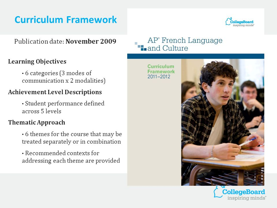 Course and Exam Description Publication date: February 2011 Curriculum Framework Exam Information Description of the structure of the exam, timing and weightings of sections Sample Exam Questions A full exams worth of exam questions Themes and learning objectives are indicated for all questions Rubrics for free-response questions are included Cover image not yet available