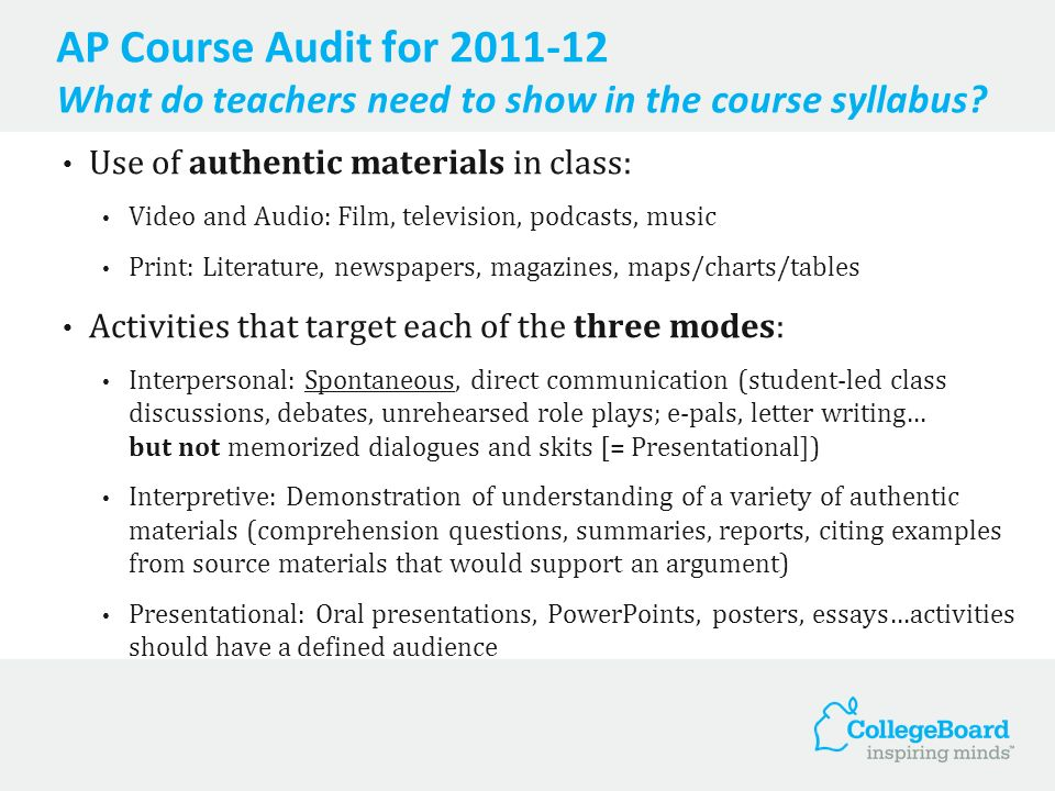 AP Course Audit for 2011-12 What do teachers need to show in the course syllabus.