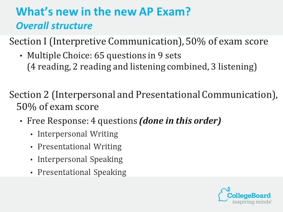 Whats new in the new AP Exam.(1) Students will be provided contexts for doing exam tasks.