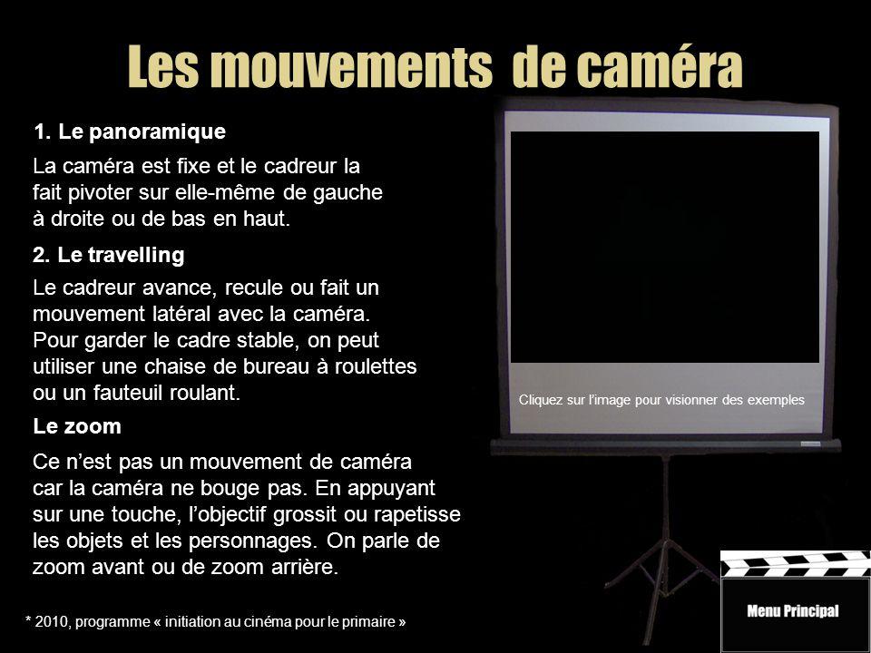 Les mouvements de caméra * 2010, programme « initiation au cinéma pour le primaire » 1.