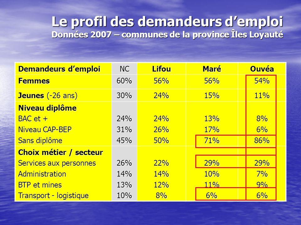 Le profil des demandeurs d'emploi Données 2007 – écarts extrêmes par communes Demandeurs d'emploi NC Le + bas Le plus haut Femmes60% 44% Ouégoa 69% Kouaoua / Pouembout Jeunes (-26 ans) 30% 11% Ouvéa 37% Koumac Niveau diplôme BAC et + Niveau CAP-BEP Sans diplôme 24%31%45% 8% Ouvéa 6% Ouvéa 40% Île des Pins 29% Nouméa 48% Île des Pins 86% Ouvéa Choix métier / secteur Services aux personnes Administration BTP et mines Transport - logistique 26%14%13%10% 15% Île des Pins 2% Belep 7% Belep 2% Farino 51% Farino 16% Dumbéa 26% Yaté 21% Ouégoa