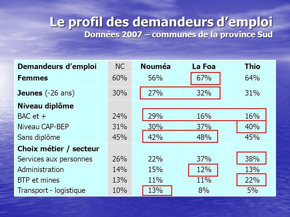 Le profil des demandeurs d'emploi Données 2007 – communes de la province Nord Demandeurs d'emploi NCKonéHienghèneBelep Femmes60%60%58%59% Jeunes (-26 ans) 30%32%28%31% Niveau diplôme BAC et + Niveau CAP-BEP Sans diplôme 24%31%45%21%35%44%9%37%54%9%16%75% Choix métier / secteur Services aux personnes Administration BTP et mines Transport - logistique 26%14%13%10%30%12%14%7%34%7%25%10%37%2%7%2%