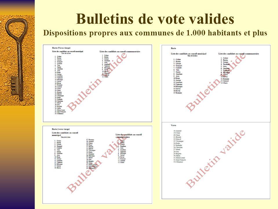 Bulletins non valides Dispositions propres aux communes de 1.000 habitants et plus