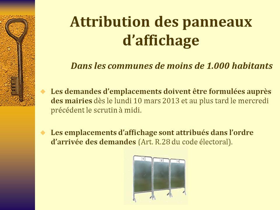 Attribution des panneaux d'affichage Dans les communes de 1.000 habitants et plus  Les emplacements d'affichage sont attribués en fonction d'un tirage au sort par le représentant de l'État à l'issue du délai de dépôt des candidatures (Art.