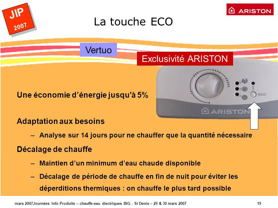 JIP 2007 JIP 2007 mars 2007Journées Info Produits – chauffe-eau électriques BIG - St Denis – 29 & 30 mars 2007 20 Rappel > Les plus produit