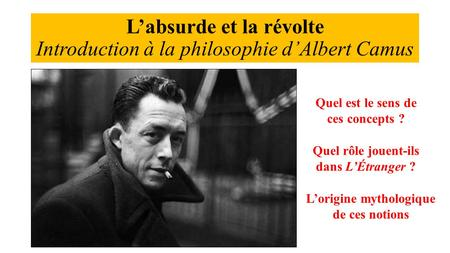 L'absurde et la révolte Introduction à la philosophie d'Albert Camus
