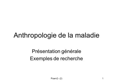 Anthropologie de la maladie