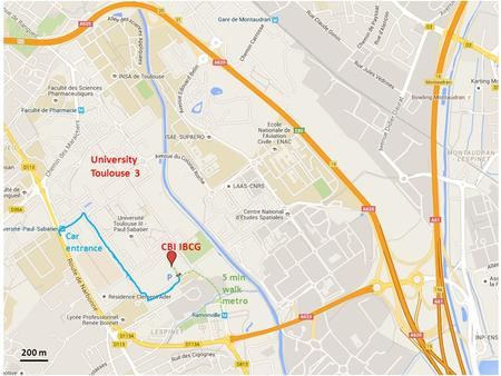 P5 min walk metro Car entrance CBI IBCG 200 m University Toulouse 3.