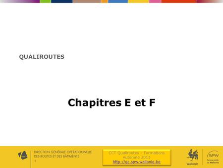 CCT Qualiroutes – Formations Automne 2011  CCT Qualiroutes – Formations Automne 2011  1 QUALIROUTES Chapitres.