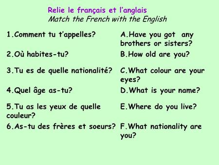 1.Comment tu t'appelles?A.Have you got any brothers or sisters? 2.Où habites-tu?B.How old are you? 3.Tu es de quelle nationalité?C.What colour are your.