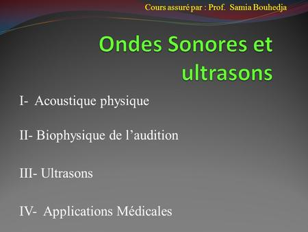 Ondes Sonores et ultrasons