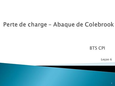 Perte de charge – Abaque de Colebrook