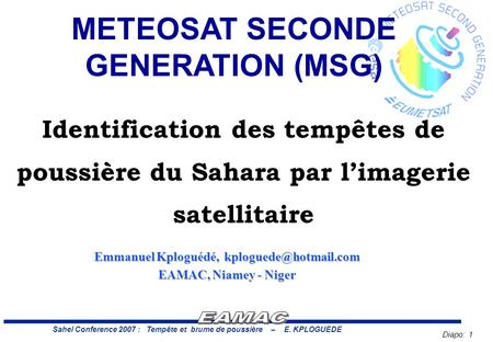 METEOSAT SECONDE GENERATION (MSG)
