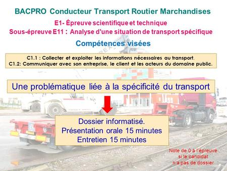 BACPRO Conducteur Transport Routier Marchandises E1- Épreuve scientifique et technique Sous-épreuve E11 : Analyse d'une situation de transport spécifique.