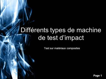 Différents types de machine de test d'impact