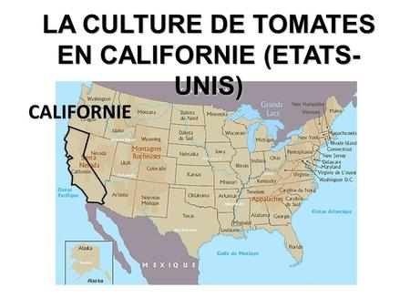 LA CULTURE DE TOMATES EN CALIFORNIE (ETATS-UNIS)