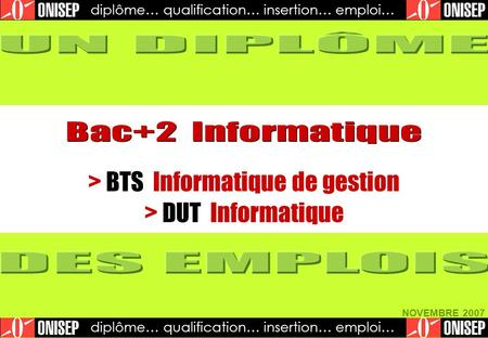 Diplôme… qualification… insertion… emploi… NOVEMBRE 2007 diplôme… qualification… insertion… emploi… > BTS Informatique de gestion > DUT Informatique.