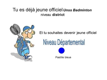 Tu es déjà jeune officiel Unss Badminton niveau district