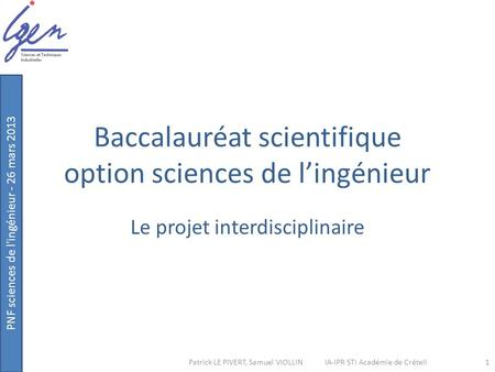 Baccalauréat scientifique option sciences de l'ingénieur