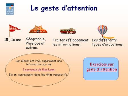 Le geste dattention Exercices sur Exercices sur geste dattention geste dattention 15, 16 ans Géographie, Physique et autres. Traiter efficacement les informations.