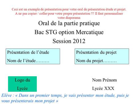 Oral de la partie pratique Bac STG option Mercatique Session 2012